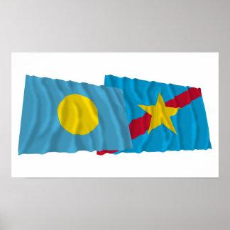 Palau y banderas que agitan de Ngaraard Impresiones