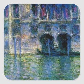 Palazzo da Mula at Venice by Claude Monet Square Sticker