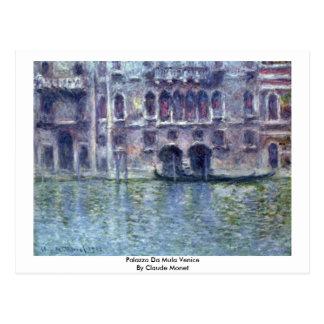 Palazzo Da Mula Venice By Claude Monet Postcard