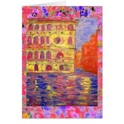 palazzos de Venecia y goteo ligero colorido Tarjeta De Felicitación