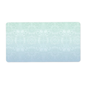 Pale Aqua and Periwinkle Muted Vintage Lace Theme Label