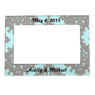 pale aqua blue gray diamond damask magnetic picture frame