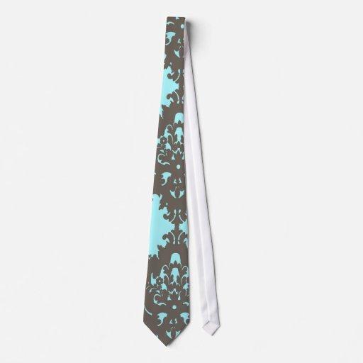 pale aqua blue gray diamond damask tie