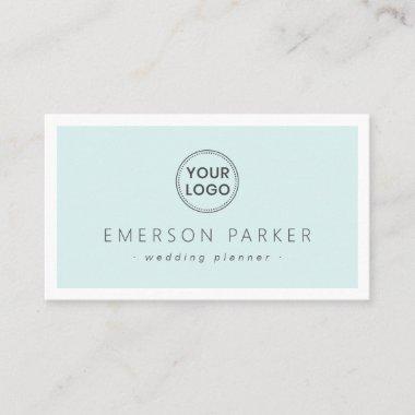 Pale aqua blue white modern minimalist add logo business card