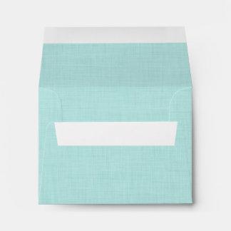Pale Aqua Linen Look Wedding RSVP V03 Envelope