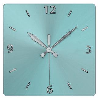 Pale Aqua Modern Metallic Wall Clock