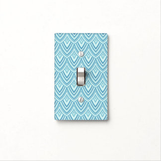 Pale Aqua Rounded Chevrons Home Decor Light Switch Cover