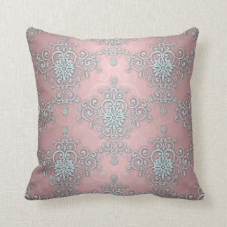 Pale Baby Blue and Pink Fancy Damask Pattern Throw Pillow