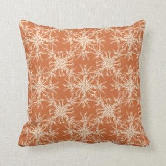 Pale Beige and Tuscany Orange Damask Pattern