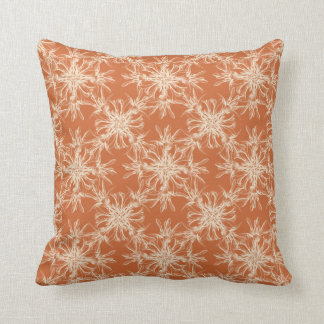 Pale Beige and Tuscany Orange Damask Pattern Throw Pillow