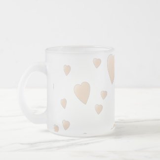 Pale Beige and White Love Hearts Pattern. 10 Oz Frosted Glass Coffee Mug