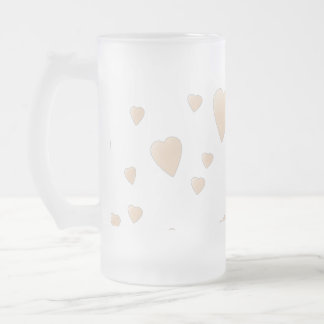 Pale Beige and White Love Hearts Pattern. 16 Oz Frosted Glass Beer Mug