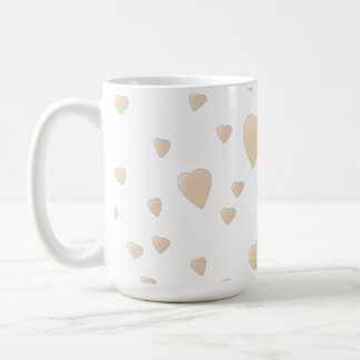 Pale Beige and White Love Hearts Pattern. Classic White Coffee Mug