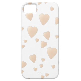 Pale Beige and White Love Hearts Pattern. iPhone SE/5/5s Case