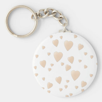 Pale Beige and White Love Hearts Pattern. Keychain