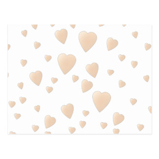 Pale Beige and White Love Hearts Pattern. Postcard