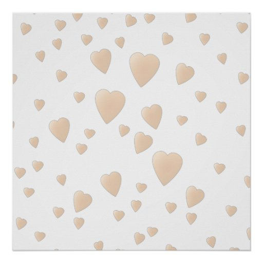 Pale Beige and White Love Hearts Pattern. Print