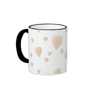 Pale Beige and White Love Hearts Pattern. Ringer Coffee Mug