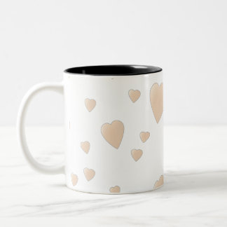 Pale Beige and White Love Hearts Pattern. Two-Tone Coffee Mug