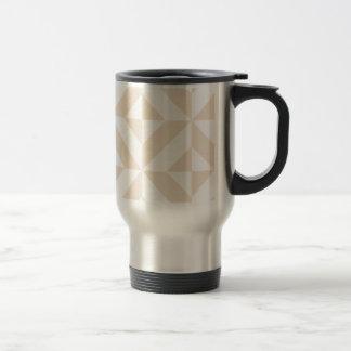 Pale Beige Geometric Deco Cube Pattern 15 Oz Stainless Steel Travel Mug