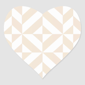 Pale Beige Geometric Deco Cube Pattern Heart Sticker
