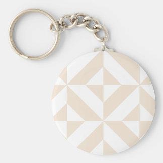 Pale Beige Geometric Deco Cube Pattern Key Chain