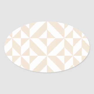 Pale Beige Geometric Deco Cube Pattern Oval Sticker