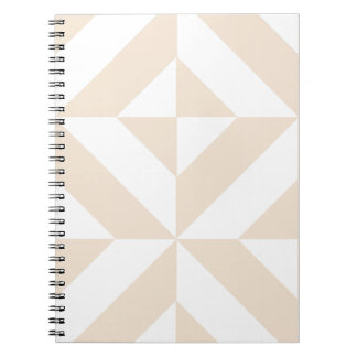 Pale Beige Geometric Deco Cube Pattern Spiral Notebooks