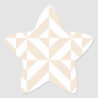 Pale Beige Geometric Deco Cube Pattern Star Sticker