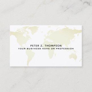 pale beige world map international business card