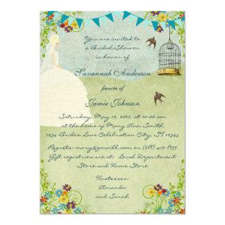 Pale Blonde Garden Bridal Shower Invitations