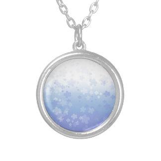 Pale Blossoms Blue Round Pendant Necklace