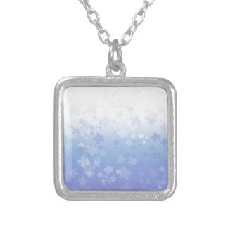Pale Blossoms Blue Square Pendant Necklace