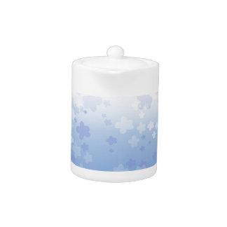 Pale Blossoms Blue Teapot