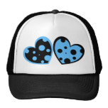 Pale Blue And Black Hearts Hat