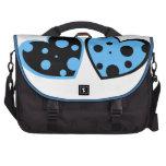 Pale Blue And Black Hearts Laptop Bag