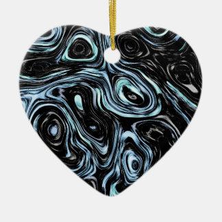 Pale Blue And Black Marble Swirls Ceramic Ornament