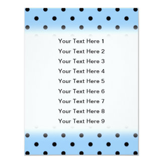 Pale Blue and Black Polka Dot Pattern. 4.25x5.5 Paper Invitation Card