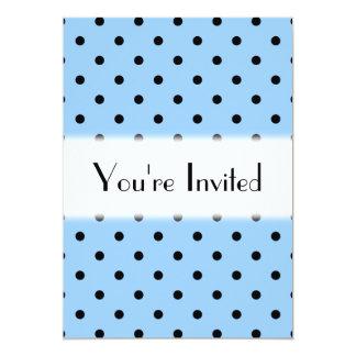 Pale Blue and Black Polka Dot Pattern. 5x7 Paper Invitation Card