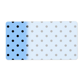 Pale Blue and Black Polka Dot Pattern. Label