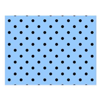 Pale Blue and Black Polka Dot Pattern. Postcard