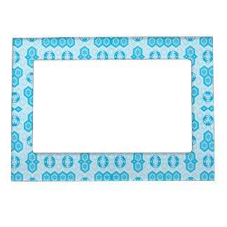 Pale Blue and Brighter Blue Geometric Floral Magnetic Picture Frame