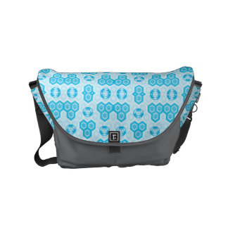 Pale Blue and Brighter Blue Geometric Floral Small Messenger Bag