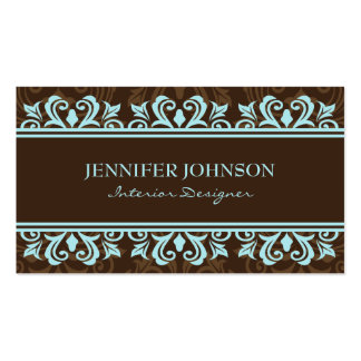Pale blue and brown elegant damask profile cards Double-Sided standard business cards (Pack of 100)