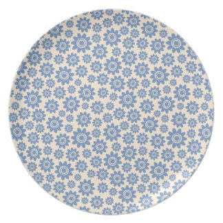 Pale blue and cream whimsical flower pattern plate