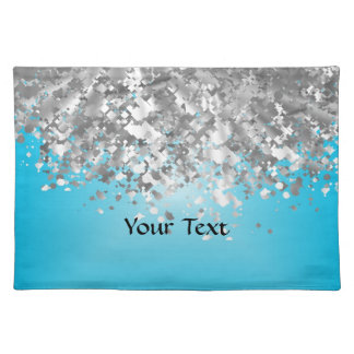 Pale blue and faux glitter cloth placemat