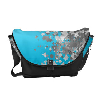 Pale blue and faux glitter courier bag