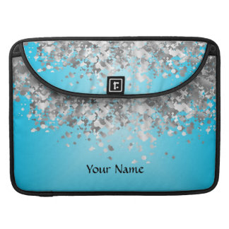 Pale blue and faux glitter MacBook pro sleeves