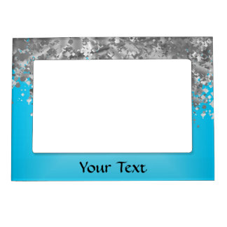 Pale blue and faux glitter magnetic frame