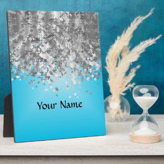 Pale blue and faux glitter plaque